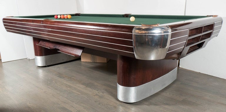 Art Deco Brunswick Pool Table In Rosewood With Brushed And Polished  Aluminum 2