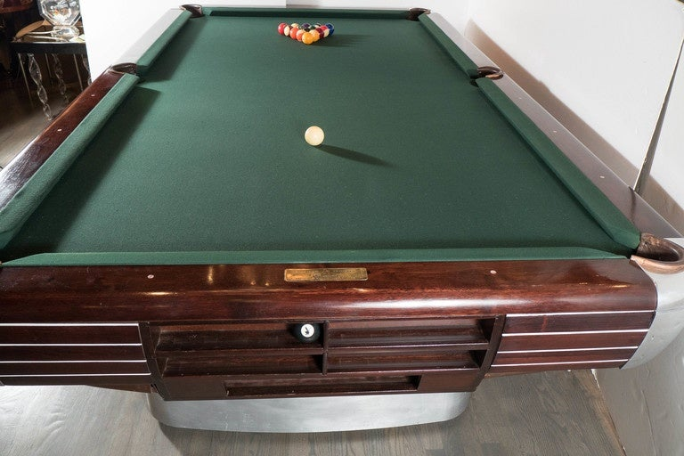 Art Deco Brunswick Pool Table In Rosewood With Brushed And Polished - Brunswick century pool table