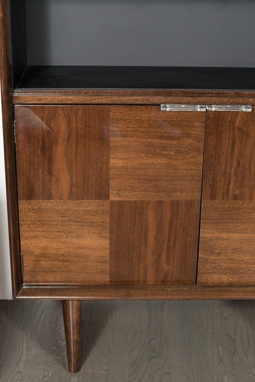 American Midcentury Bookmatched Walnut Bar/Cabinet by Gilbert Rohde for Herman Miller For Sale
