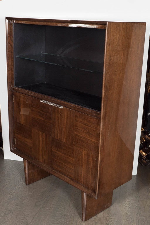 Mid-20th Century Midcentury Bookmatched Walnut Bar/Cabinet by Gilbert Rohde for Herman Miller For Sale