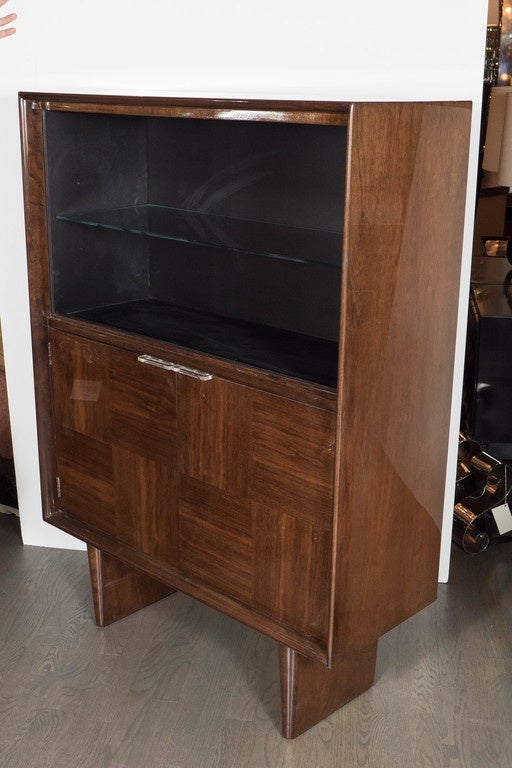 Midcentury Bookmatched Walnut Bar/Cabinet by Gilbert Rohde for Herman Miller For Sale 2