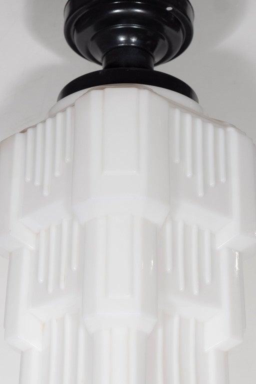 Stylized Art Deco Skyscraper Style Flush Mount Fixture In