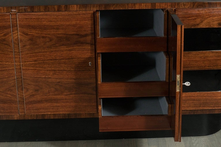 art deco sideboard by deutsche mobel in bookmatched rosewood in excellent condition for sale in new