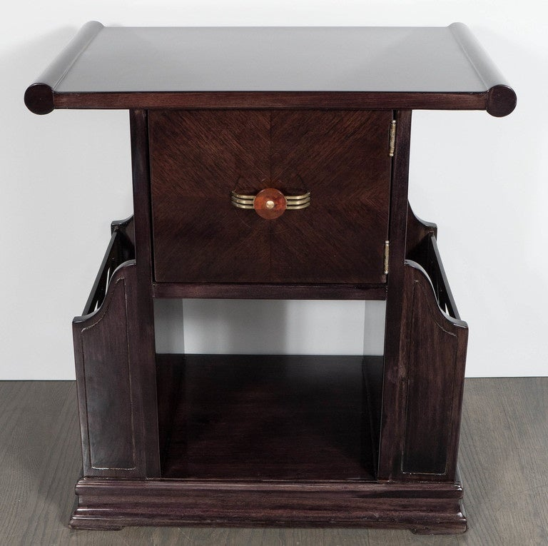 Art Deco Magazine or Telephone Table with Inlaid Walnut and Brass, Bakelite Pull 2