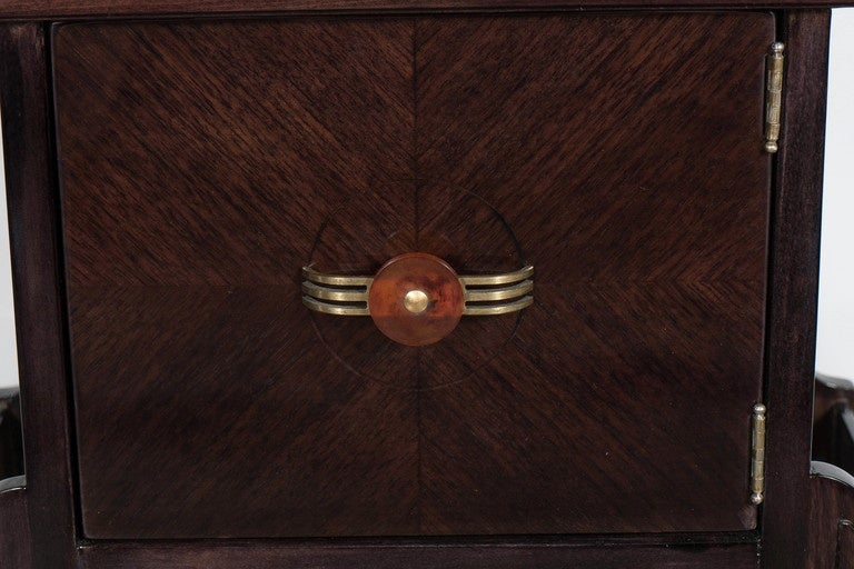 American Art Deco Magazine or Telephone Table with Inlaid Walnut and Brass, Bakelite Pull For Sale