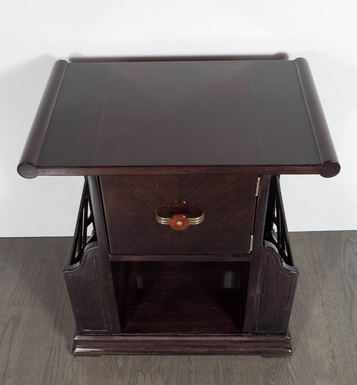 Art Deco Magazine or Telephone Table with Inlaid Walnut and Brass, Bakelite Pull In Excellent Condition For Sale In New York, NY