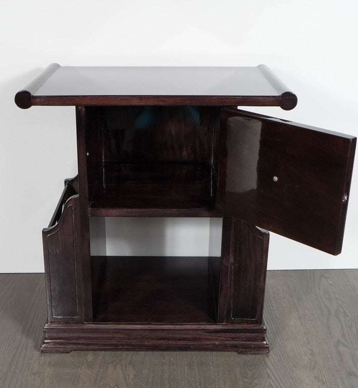 Art Deco Magazine or Telephone Table with Inlaid Walnut and Brass, Bakelite Pull 5