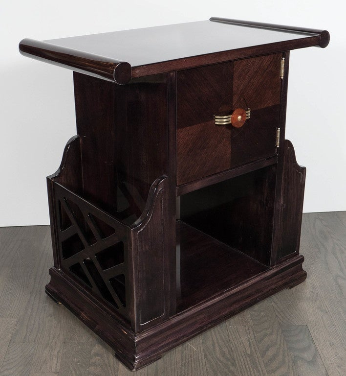Art Deco Magazine or Telephone Table with Inlaid Walnut and Brass, Bakelite Pull 6