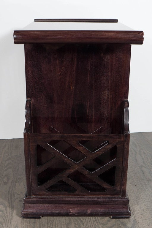 Art Deco Magazine or Telephone Table with Inlaid Walnut and Brass, Bakelite Pull 7