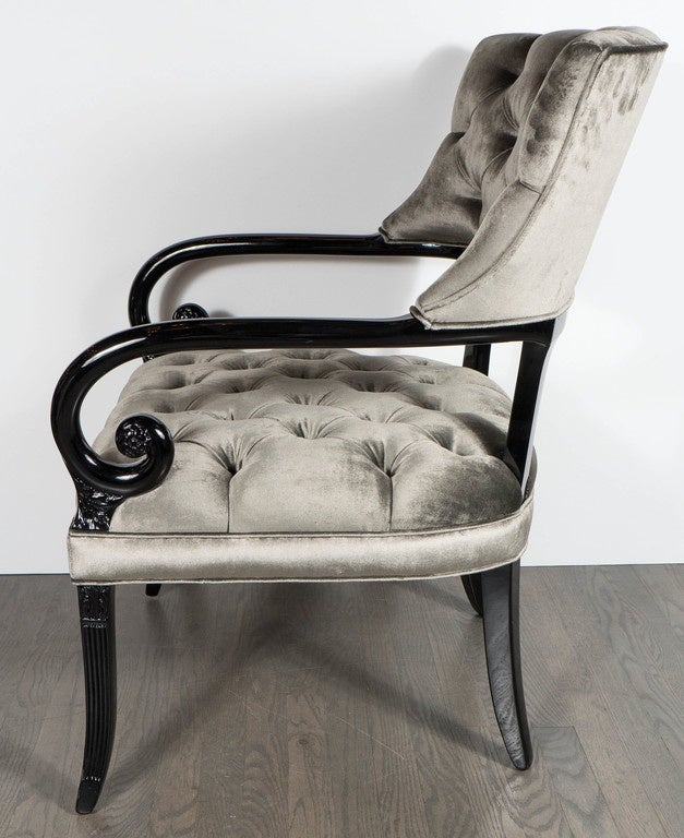 Pair of Hollywood Regency Scroll Occasional Chairs by Grosfeld House In Excellent Condition For Sale In New York, NY