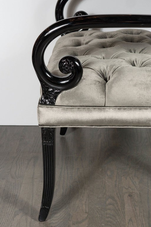 Mid-20th Century Pair of Hollywood Regency Scroll Occasional Chairs by Grosfeld House For Sale