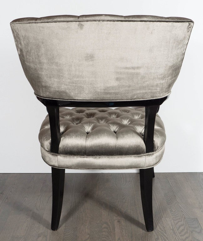 Velvet Pair of Hollywood Regency Scroll Occasional Chairs by Grosfeld House For Sale