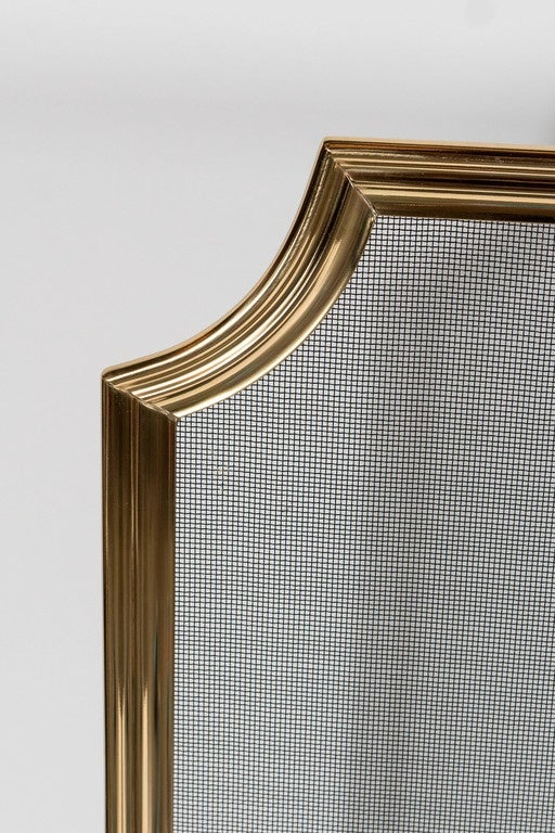 Contemporary Custom Modern Fire Screen in Polished Brass with Curved Corner Detail For Sale