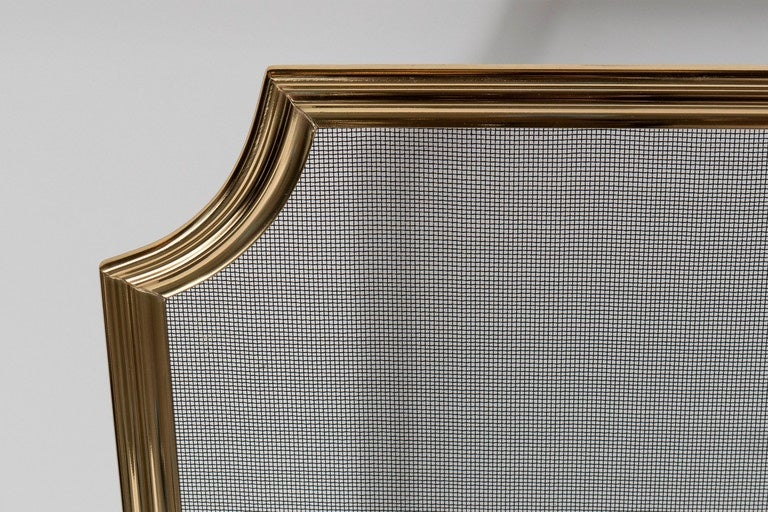 Custom Modern Fire Screen in Polished Brass with Curved Corner Detail For Sale 1