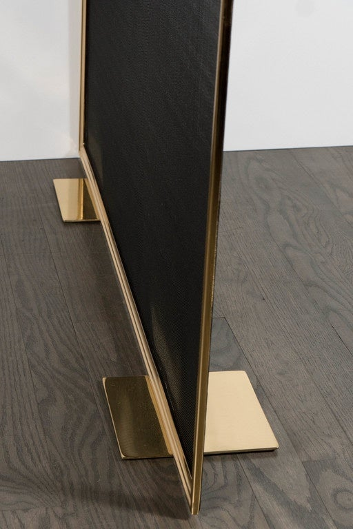 Custom Modern Fire Screen in Polished Brass with Curved Corner Detail For Sale 3