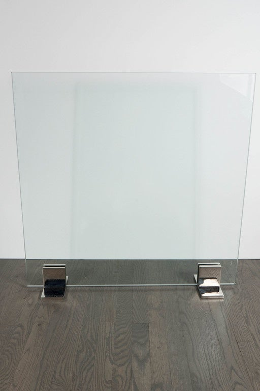 Custom Modern Fire Screen in Polished Nickel and Tempered Glass In Excellent Condition For Sale In New York, NY