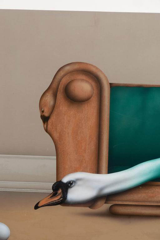 Surrealist Painting Featuring a Swan, Titled