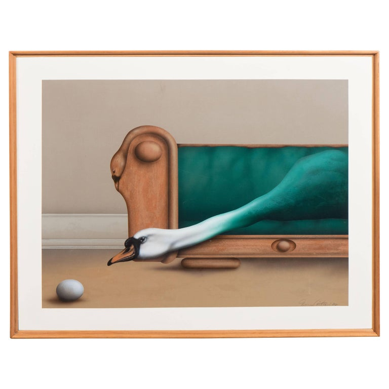 "Surrealist Painting Featuring a Swan, Titled ""Sitting Pretty"" by James Carter For Sale"