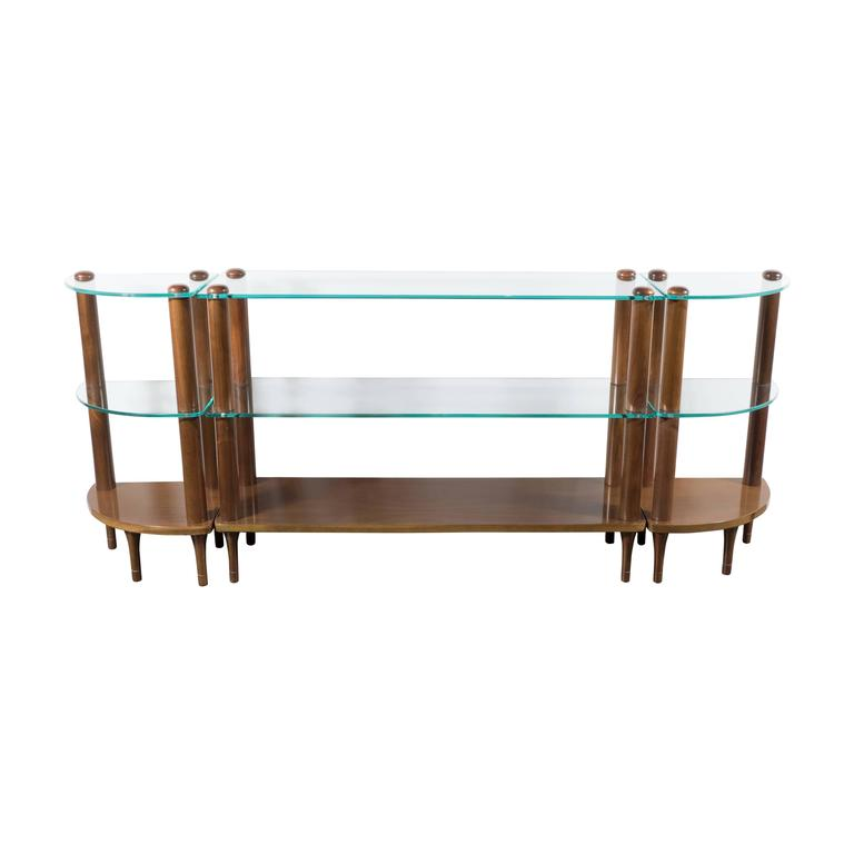 Art Deco Streamlined Glass and Walnut Shelf Trio by Gilbert Rohde