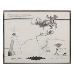 Signed Lithograph by Saul Steinberg Sam's Art Lithograph