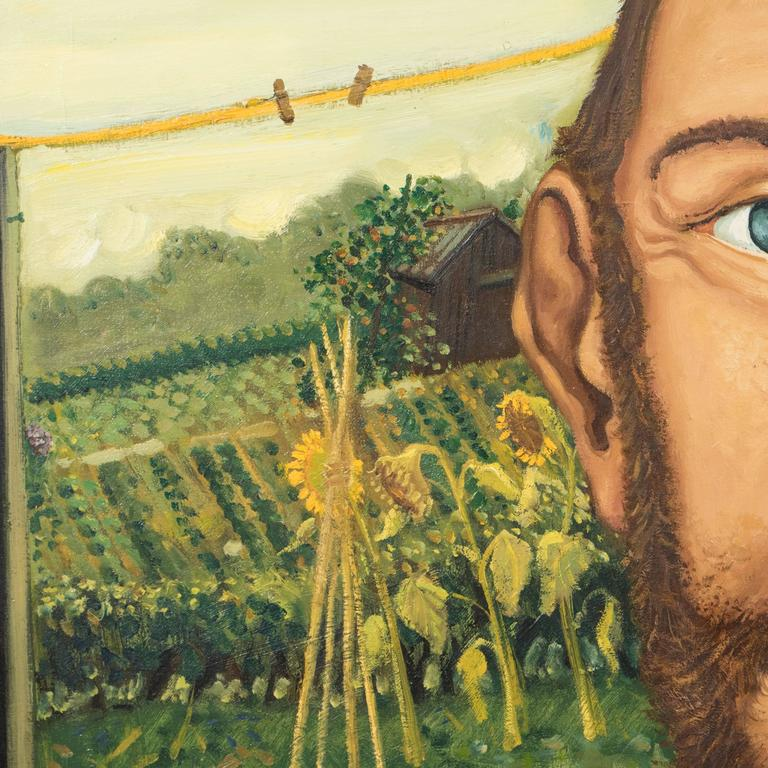 The Sun Flower Portrait English Anthony Green, Oil on Canvas, Realized in 1974 5