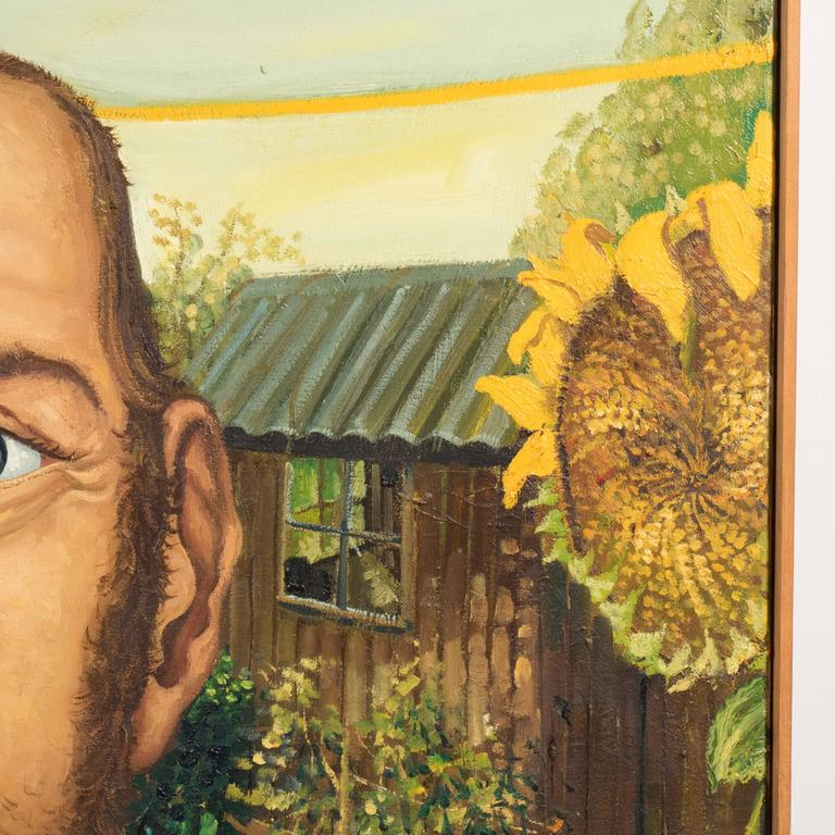 The Sun Flower Portrait English Anthony Green, Oil on Canvas, Realized in 1974 For Sale 1