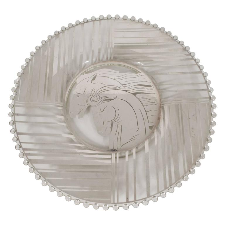 Art Deco Sterling Silver Overlay Horse Plate with Hobnail Details 1