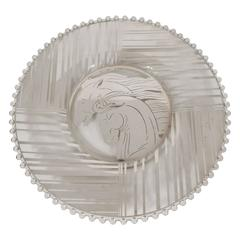 Art Deco Sterling Silver Overlay Horse Plate with Hobnail Details