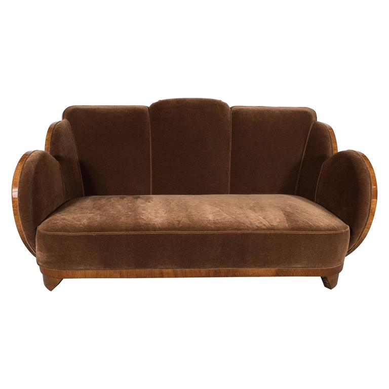 Gorgeous Art Deco Cloud Series Sofa In Bookmatched Walnut And Chestnut Mohair
