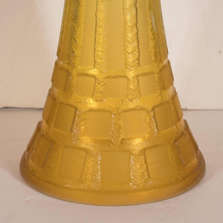 Patinated Art Deco Handmade Acid Etched Glass Table Lamp Bronze Supports by Daum For Sale
