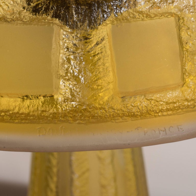 Early 20th Century Art Deco Handmade Acid Etched Glass Table Lamp Bronze Supports by Daum For Sale