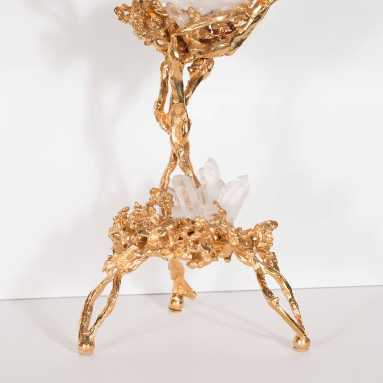 Pair of Double Branch 24-Karat Gold-Plated Bronze Candlesticks by Claude Boeltz For Sale 1