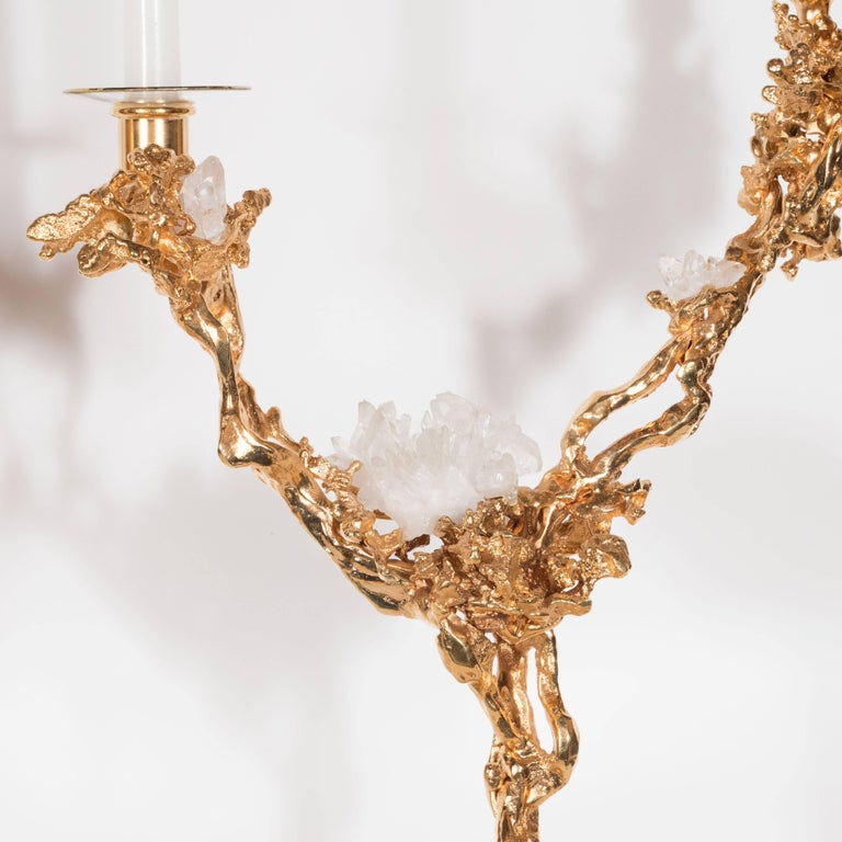 Mid-Century Modern Pair of Double Branch 24-Karat Gold-Plated Bronze Candlesticks by Claude Boeltz For Sale