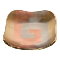 Mid-Century Modern Dish in Platinum, Copper and Gold Tones