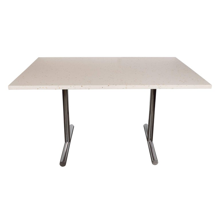 American Mid Century Modern Terrazzo Table With Tubular T Form Chrome Legs For