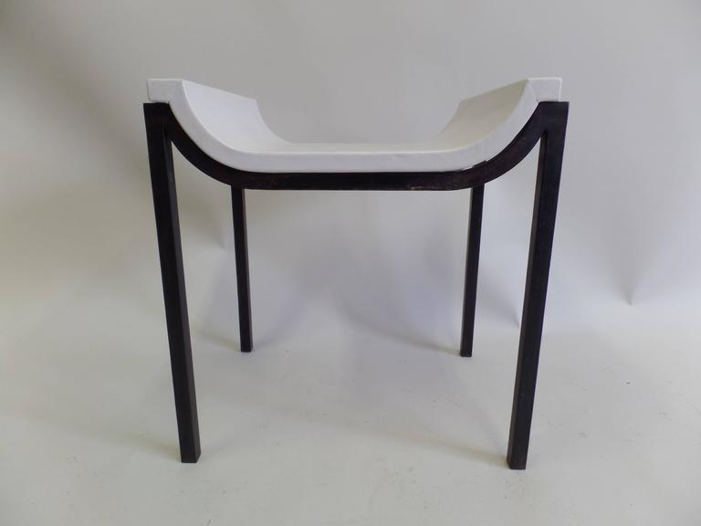 Mid-Century Modern French Iron and Leather Bench or Vanity Stool Attributed to Marc Duplantier For Sale