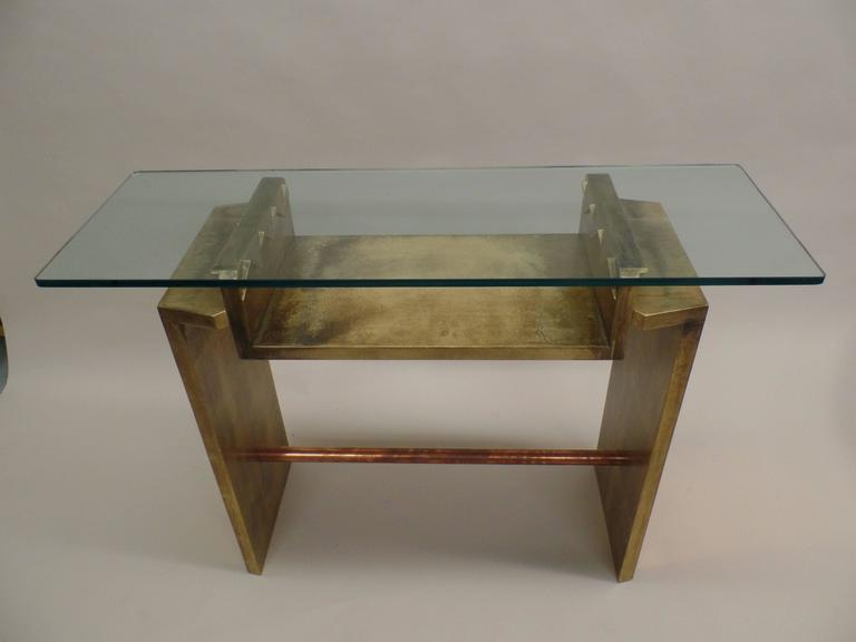 Two unique italian postmodern gilt and copper cantilevered for Unique console tables for sale