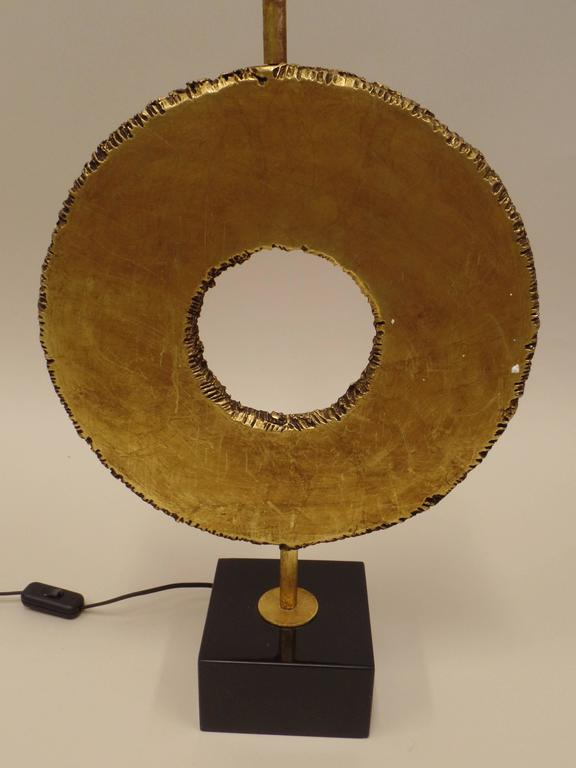 Pair of Italian Mid-Century Modern Gilt Bronze Table Lamps by Giovanni Banci In Excellent Condition For Sale In New York, NY