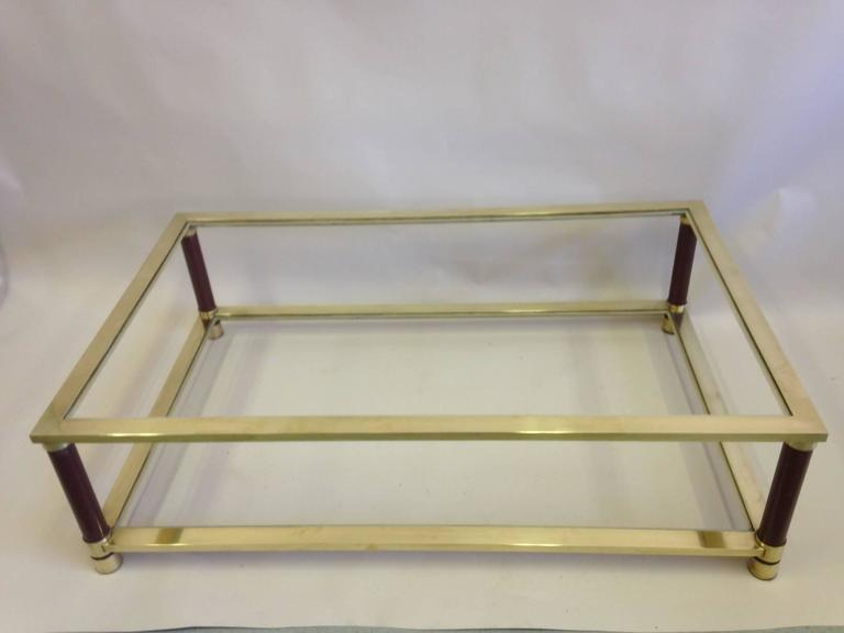 Large French Solid Brass Double Level Coffee Table Attributed to Maison Jansen 4