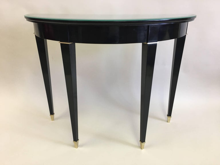 Elegant French Mid Century Modern Neoclical Black Lacquer And Ebonized Demilune Console Attributed To Maison