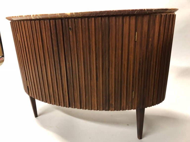 Carved Italian Mid-Century Modern Credenza / Console / Sideboard/ Bar by Paolo Buffa For Sale