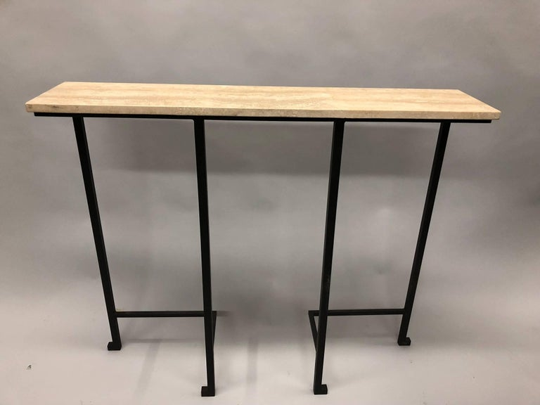 2 French Mid-Century Modern Wrought Iron & Stone Consoles, Attr. Marc Duplantier In Excellent Condition For Sale In New York, NY