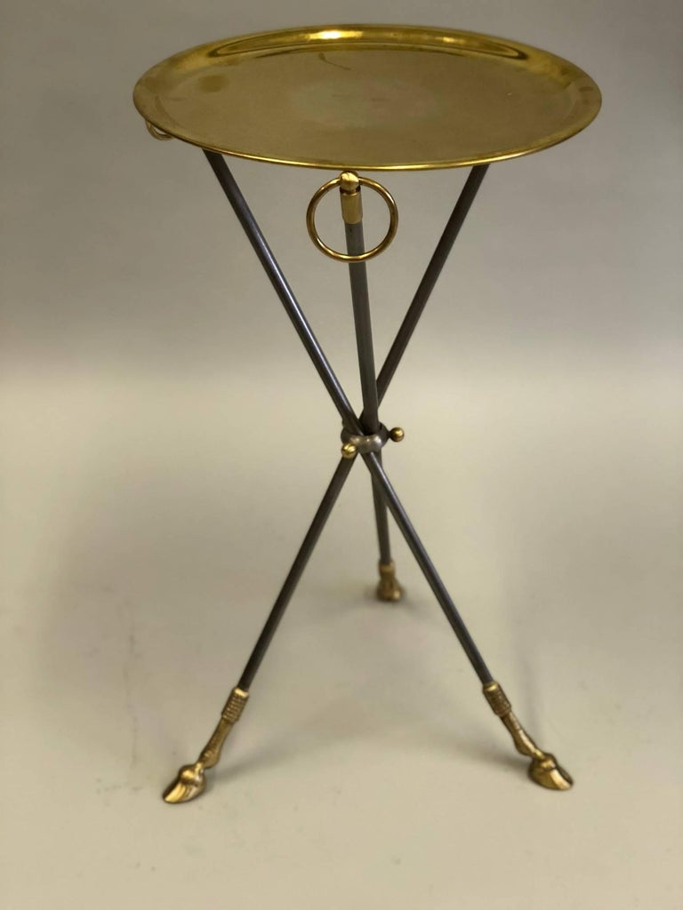 Pair of French Mid-Century Modern Steel and Brass Side Tables by Maison Baguès 4