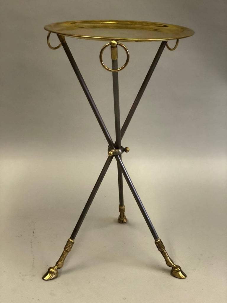 Pair of French Mid-Century Modern Steel and Brass Side Tables by Maison Baguès 3