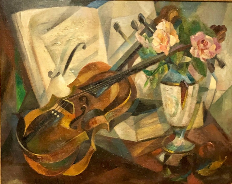 """Still Life Painting (Violin, Flowers), Oil on canvas, by Agnes Weinrich, Signed and dated """"22"""", Unframed: 20"""" x 16"""", Framed 27.5 x 23"""".  Agnes Weinrich (1873-1946) was an early female, American modernist artist at a time"""