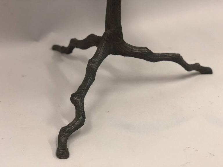 French Mid-Century Modern Bronze and Limestone End/Side Tables Giacometti, Pair In Good Condition For Sale In New York, NY
