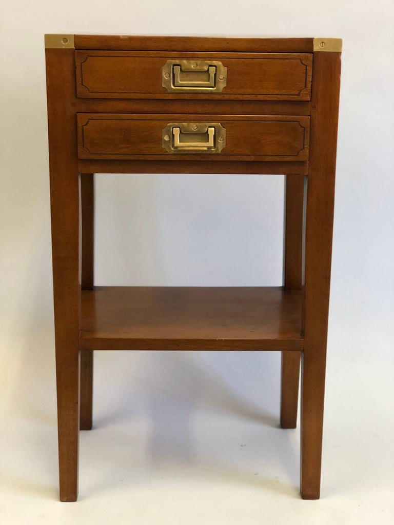 Elegant Pair of French Mid-Century Modern Style Marine Nightstands / Commodes / Chest of drawers / End or Side Tables originally designed for a luxury yacht. The Tables are hand-crafted in solid hardwood and feature solid brass hardware including
