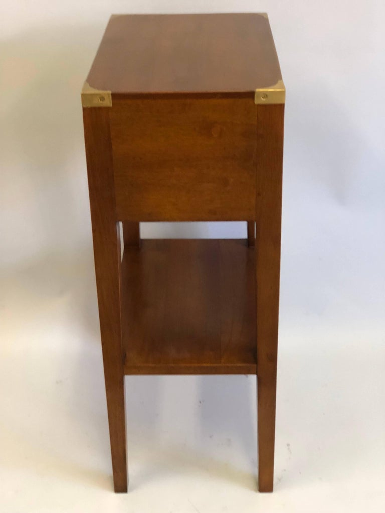 Brass Pair French Mid-Century Modern Style Marine Nightstands / End Tables  For Sale