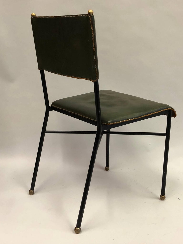 French Mid-Century Modern Hand-Stitched Leather Desk/Side Chair, Jacques Adnet In Good Condition For Sale In New York, NY
