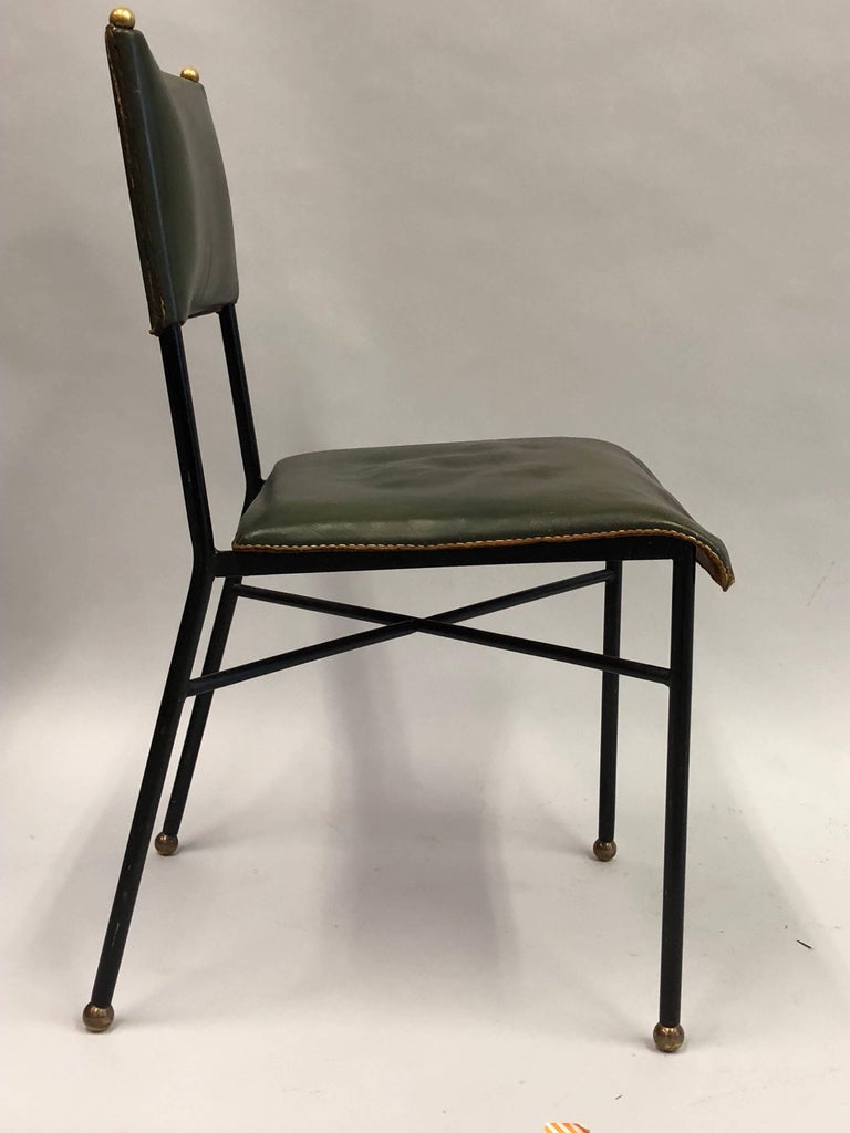 20th Century French Mid-Century Modern Hand-Stitched Leather Desk/Side Chair, Jacques Adnet For Sale